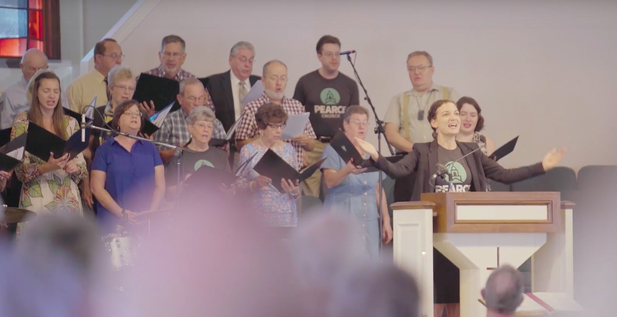 Choir singing at the traditional service at Pearce Church in Rochester, NY
